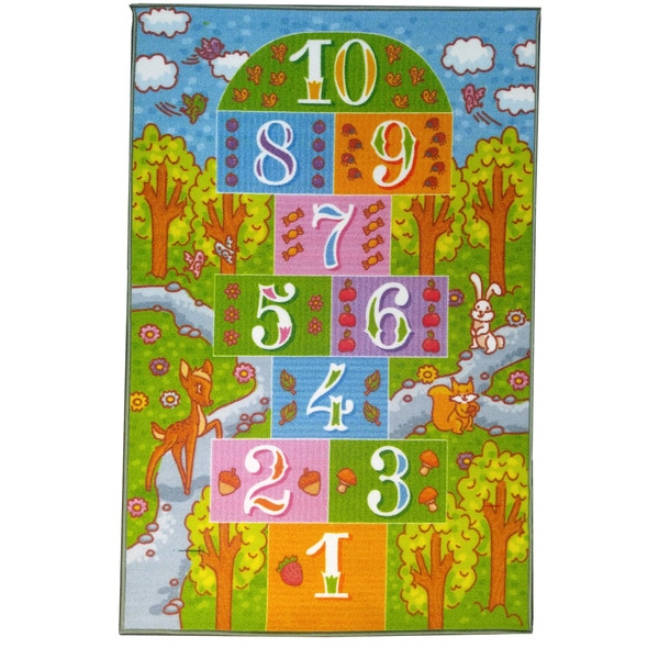 KC Cubs Playtime Collection Childrens Hopscotch Multicolor Polypropylene Educational Area Rug (8'2 x 9'10)