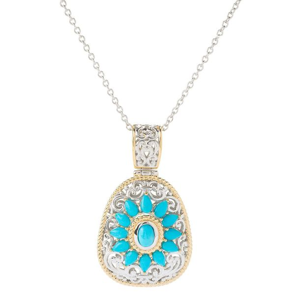 Michael Valitutti Palladium Silver Sleeping Beauty Turquoise Flower Pendant 22295221