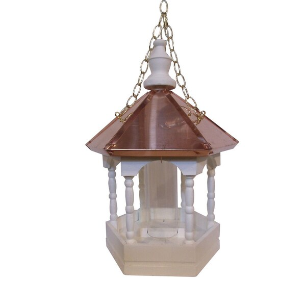 Hanging Copper Top Roof Bird Feeder with Columns