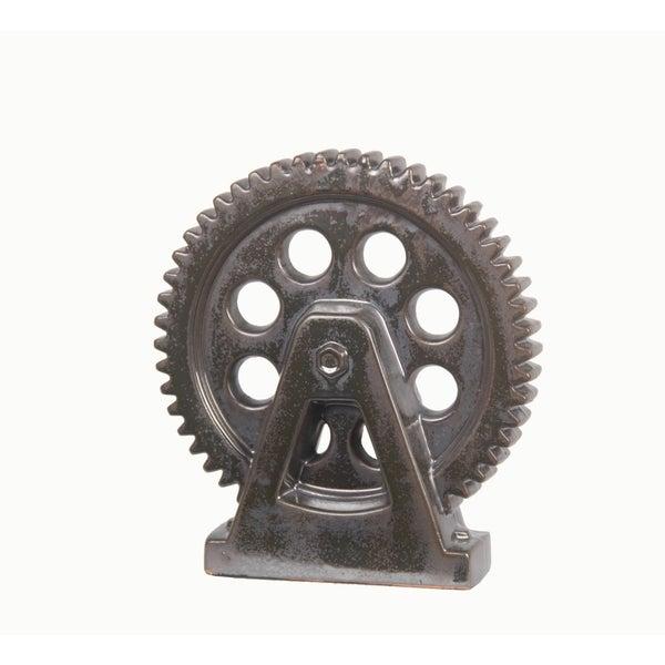 Privilege Grey Creamic Mechanic Wheel on Stand Figurine