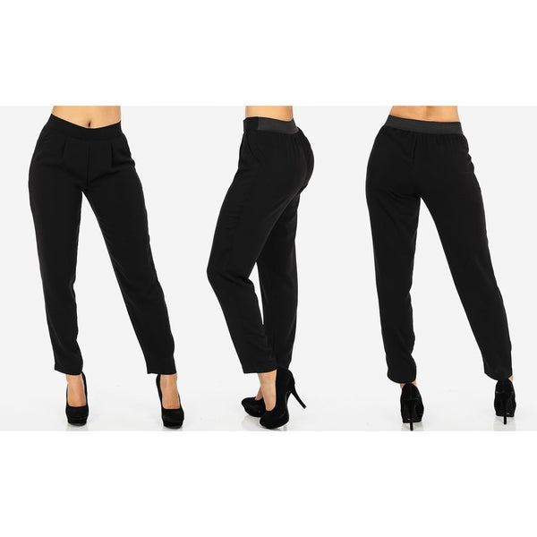 Women's Black Polyester Junior Sized High Waisted Dress Pants