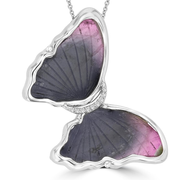 14k White Gold 29.88ct Tourmaline and 0.05ct TDW Diamond Butterfly Pendant Necklace by La Vita Vital (VS-SI1, G-H)