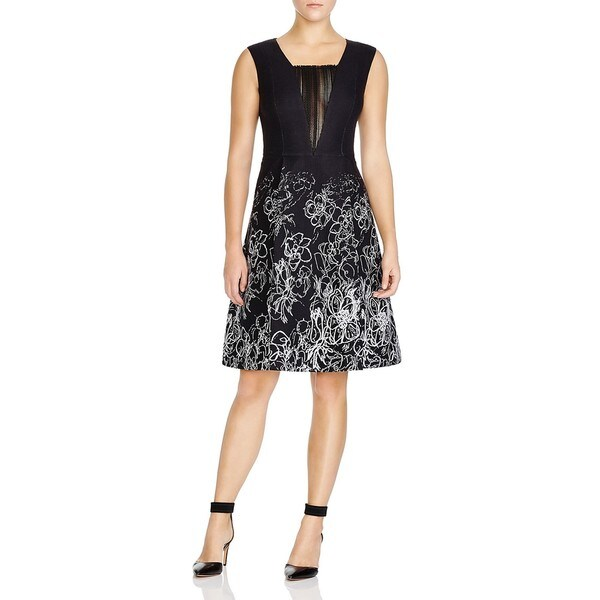 Elie Tahari Women's Lindsay Black Floral Scribble Dress