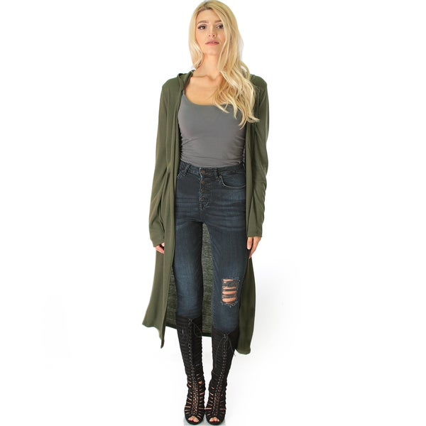 Long-Line Hooded Cardigan 22297788