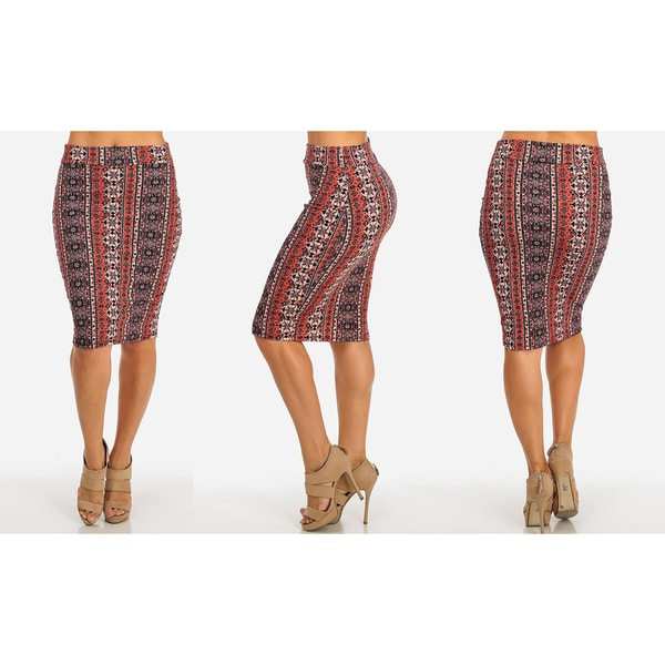 Women's Black Stretchy High-waist Midi-length Printed Pencil Skirt