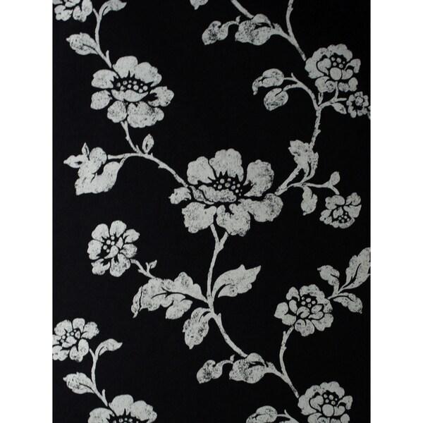 Brewster Lieto Black Floral Trail Wallpaper