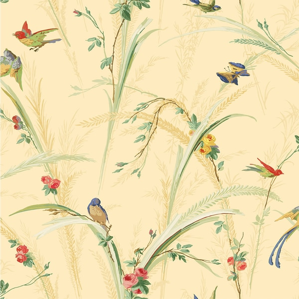 Brewster Pale Yellow Meadow Wallpaper