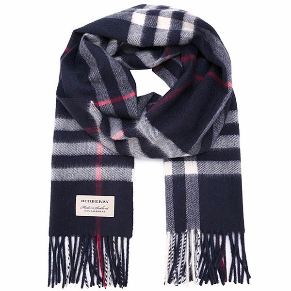 Burberry Navy Blue Heritage Cashmere Check Scarf