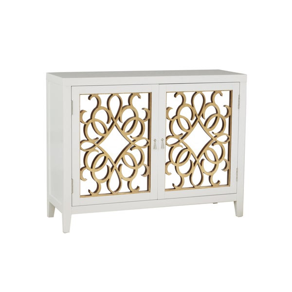 Designer White Finish Wine Console Cabinet