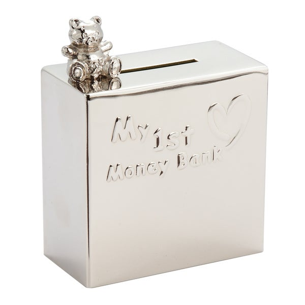 Elegance Nickel Plated Square My 1st Money Bank with Bear