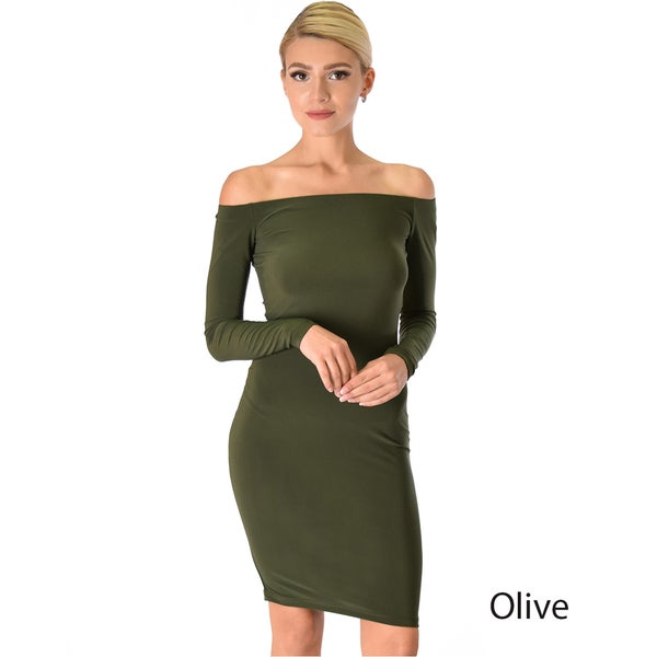 Off-the-Shoulder Long-Sleeve Midi Dress