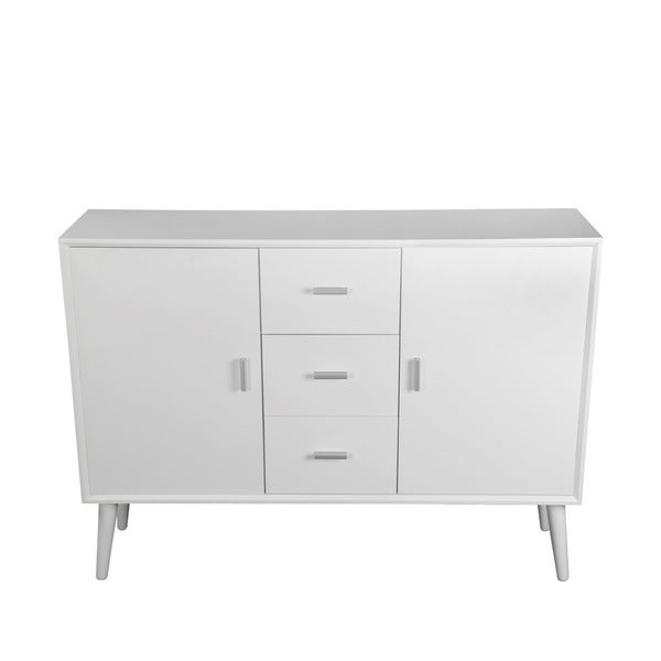 Privilege Pure White Wood Mid-century Sideboard