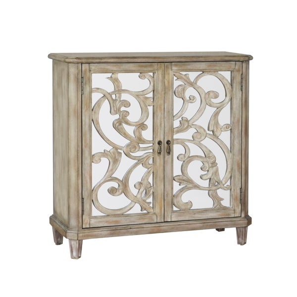 Hand Painted Distressed Aged Ivory Wine Console Cabinet