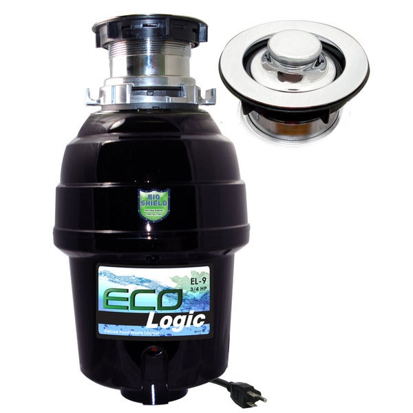 3/4 HP Eco-Logic 9 Deluxe Designer Series Food Waste Disposer (3-Bolt) with Polished Chrome Sink Flange