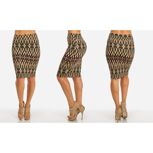 Women's Stretchy Cotton-Blend High-Waist Midi Printed Pencil Skirt