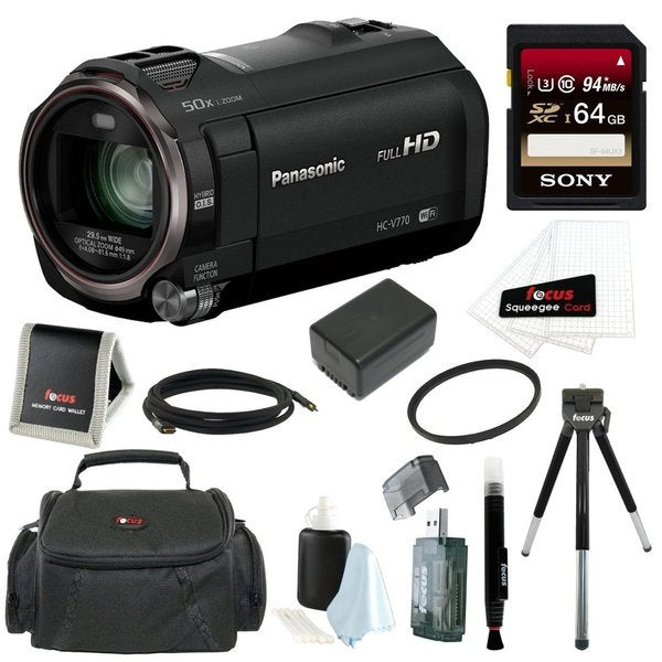 Panasonic HC-V770 HD Camcorder with Wireless Smartphone Twin Video Capture with 64GB SD Card, 49mm Tifffen UV Filter Bundle