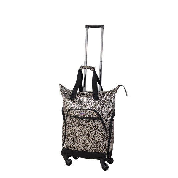 American Flyer Shiny Leopard Spinner Shopper Tote Bag