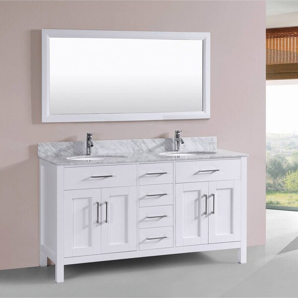Vinnova Gela  Inch White Double Vanity With Carrera White Marble Top