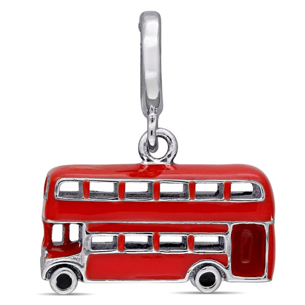 Laura Ashley Sterling Silver Double-Decker London City Bus Charm with Red and Black Enamel