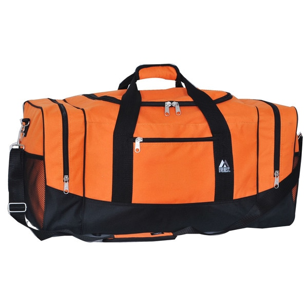 Everest Black/Orange Polyester 25-inch Sport Gear Duffel Bag