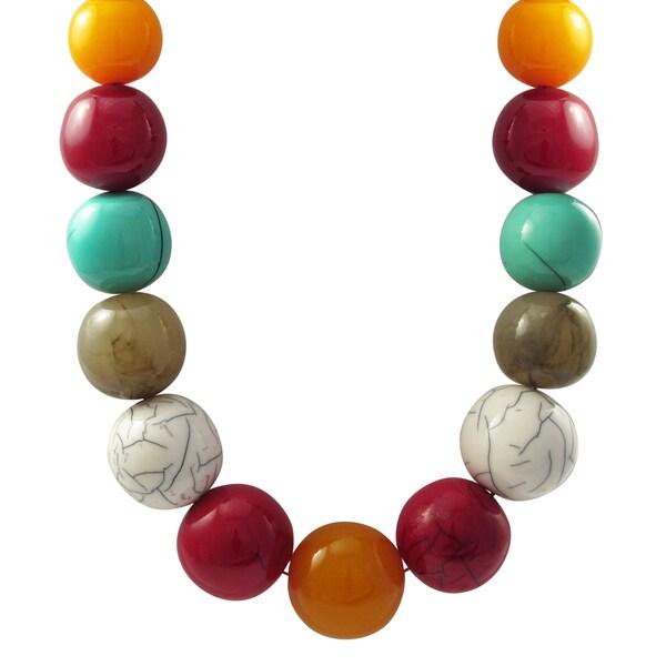 Luxiro Multi-color Resin Bead Strand Necklace