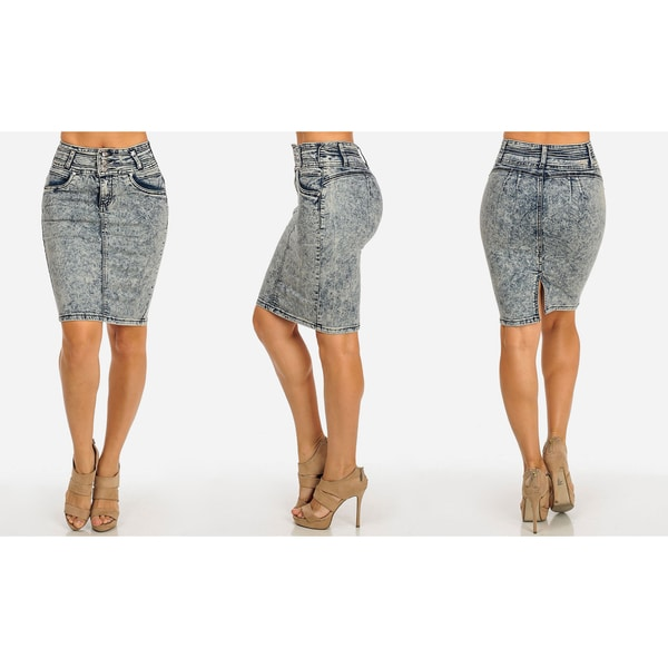 Juniors Blue Denim Distressed Stretch Pencil Skirt