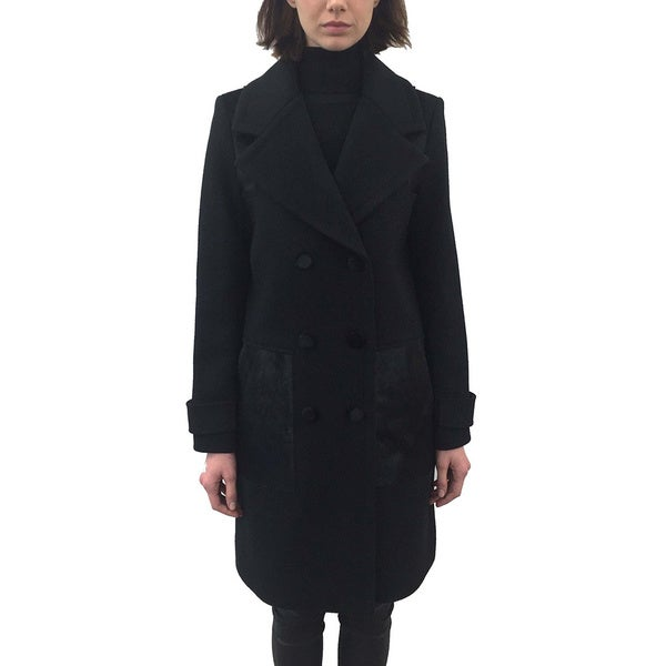 ZAC Zac Posen 'Hawthorne' Women's Black Wool Tailored Coat with Accents