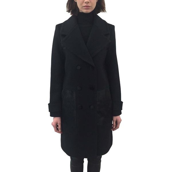 ZAC Zac Posen 'Hawthorne' Women's Black Wool Tailored Coat with Accents