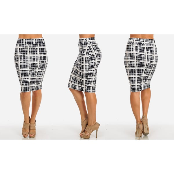 High Waist Midi-Length Printed Stretchy Pencil Skirt