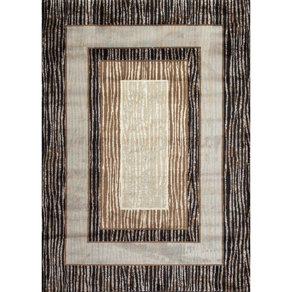 Fireside Brown, Beige, and Caramel Borders Area Rug (5'3 x 7'3)
