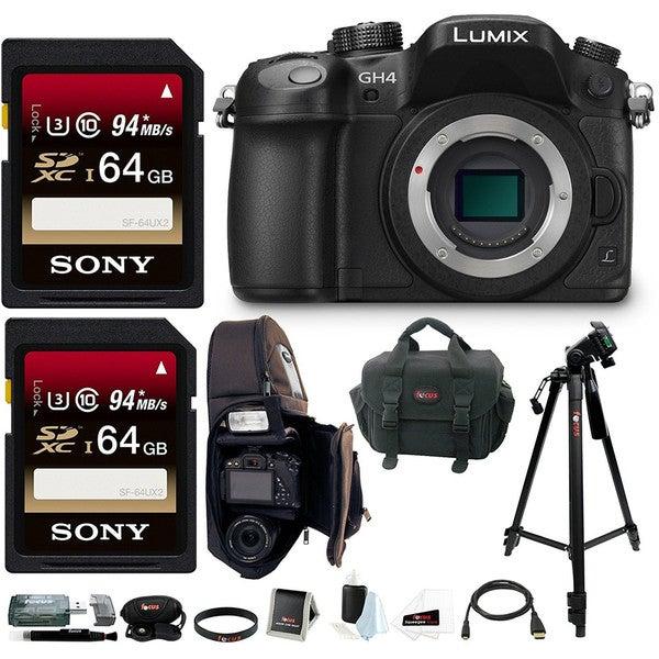 Panasonic LUMIX DMC-GH4K DMC-GH4KBODY GH4 16.05MP Digital Single Lens Mirrorless Camera with 128GB Deluxe Accessory Bundle