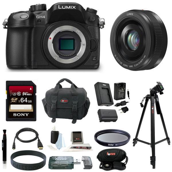 Panasonic LUMIX DMC-GH4 16.05MP Digital Camera + Panasonic Lumix G H-H020AK 20mm F/1.7 II ASPH Lens Bundle