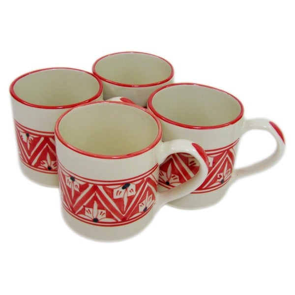 Set of 4 Stoneware Coffee Mugs Nejma Design (Tunisia)
