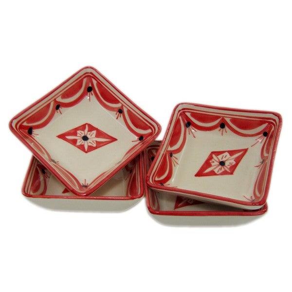 Set of 4 Square Stoneware Sauce Dishes Nejma Design (Tunisia) 22313201