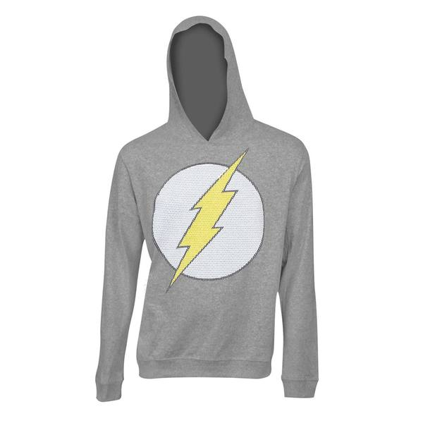 'The Flash' Classic Logo Grey Polyester Hooded Sweatshirt