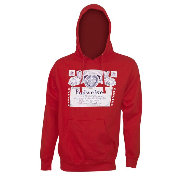 Budweiser Classic Label Red Polyester Hoodie Sweatshirt