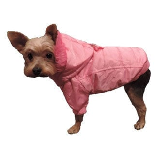 L&C Puppy-Ro Pink Nylon and Faux Fur Hooded Puffer Puppy Dog Coat