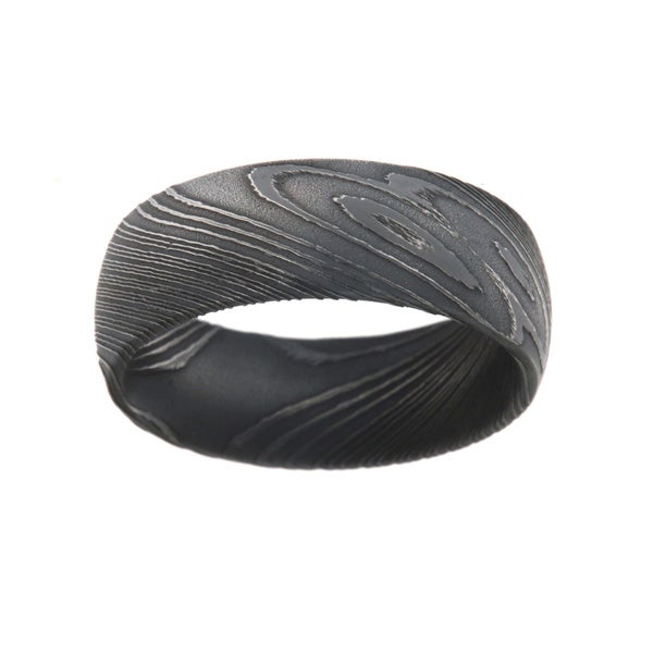 8MM Damascus Steel Ring For Men