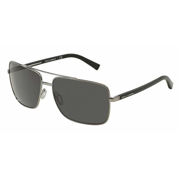 Dolce & Gabbana Mens DG2142 RUBBER EVOLUTION 04/87 Gunmetal Metal Square Sunglasses