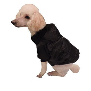 L&C Puppy-Ro Puppy and Dog Black Nylon Puffer Coat With Faux-fur Hood