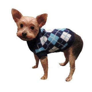 L&C Puppy-Ro Puppy Dog Blue Argyle Turtleneck Sweater
