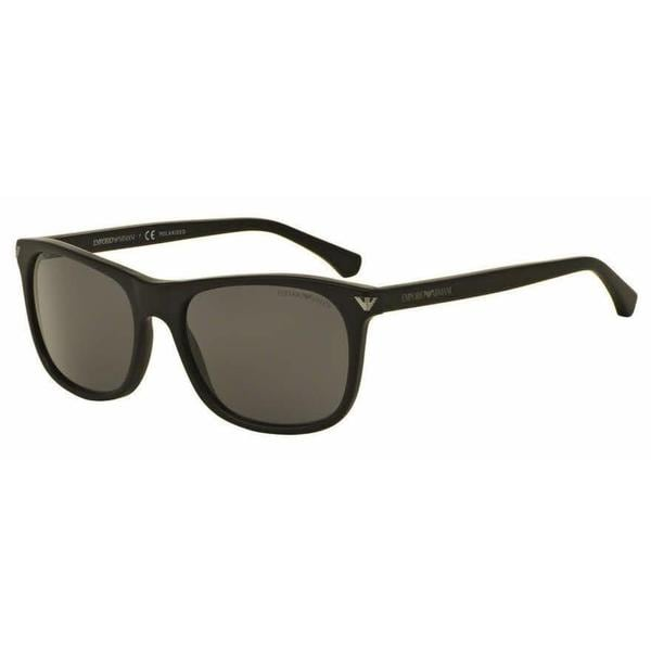 Emporio Armani Mens EA4056 504281 Black Plastic Rectangle Sunglasses