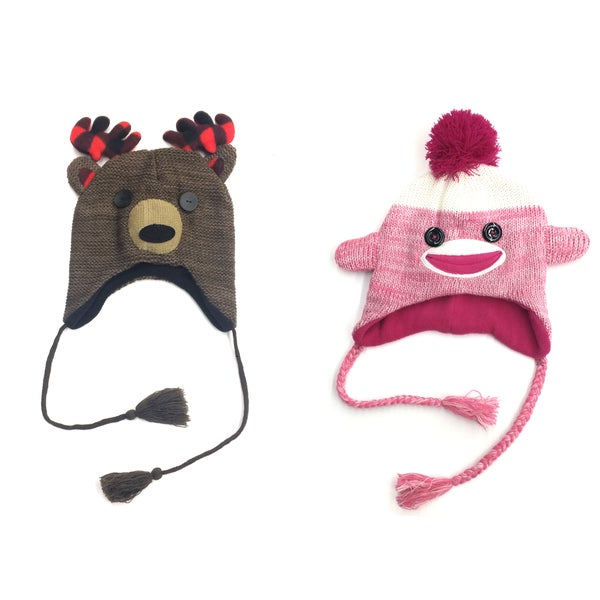 Pink/Brown Polyester Knitted Crochet Animal Face Beanie Tassel Hat