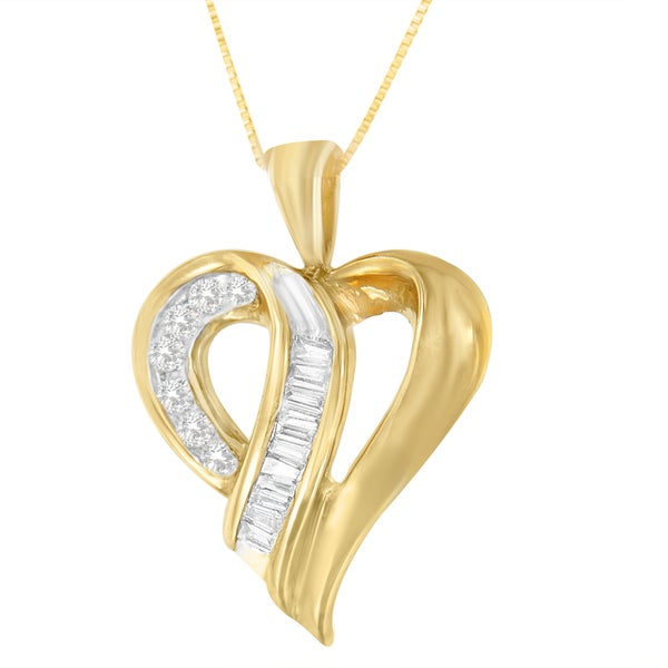 10k Yellow Gold 1/4ct TDW Round and Baguette-cut Diamond Love Loop Heart Pendant (H-I, I1-I2)