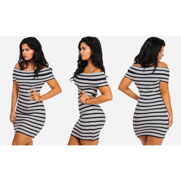 Women's Striped Knit Ribbed Off-shoulder Bodycon Dress