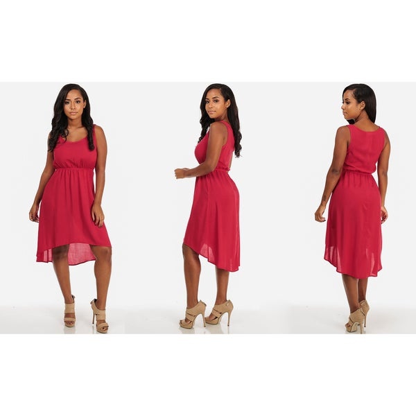 Juniors' Sleeveless High-low Casual Dress