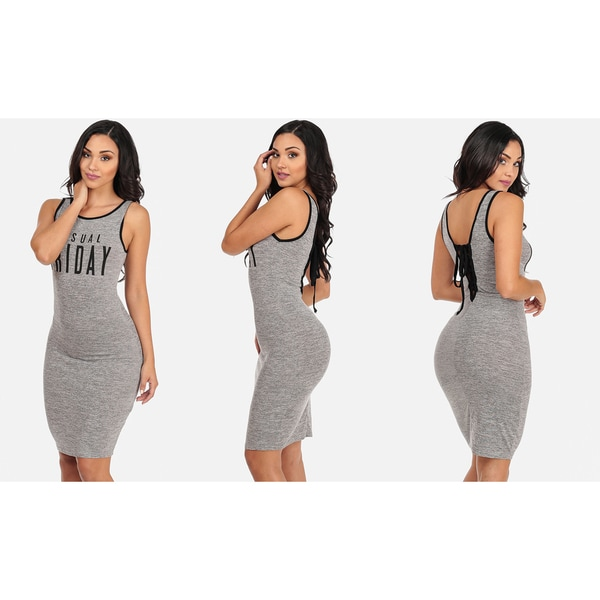 Juniors' Grey Bodycon Midi Dress