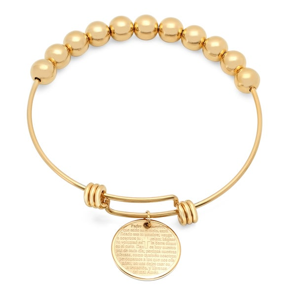 18k Gold-plated Stainless Steel Padre Nuestro Bangle