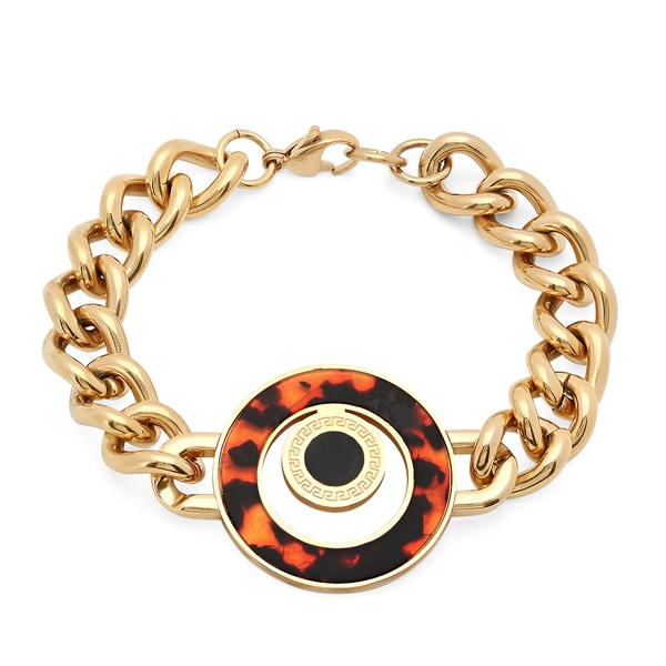 Ladies 18k Gold-plated Imitation Tortoise Shell Chain Bracelet