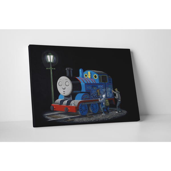 Banksy 'Tagging Thomas the Tank Engine' Gallery Wrapped Canvas Wall Art 22317014